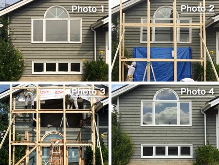 輸入住宅木製窓、交換化工事の作業風景