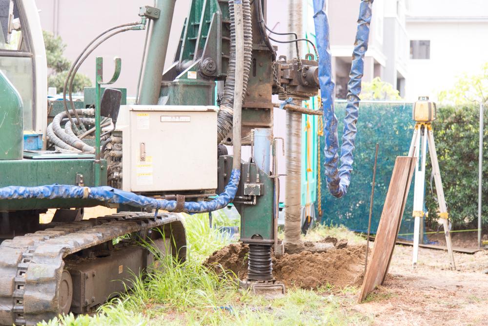 注文輸入住宅「ノースアメリカンの家」の地盤補強工事