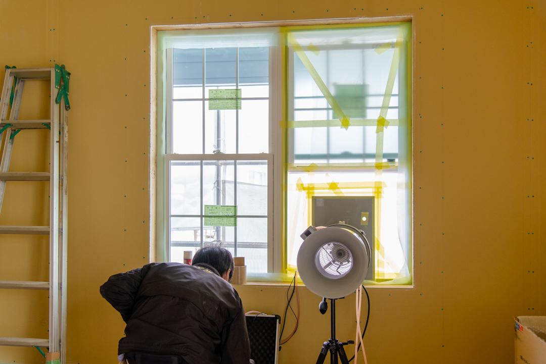 全館空調付き注文住宅の気密測定